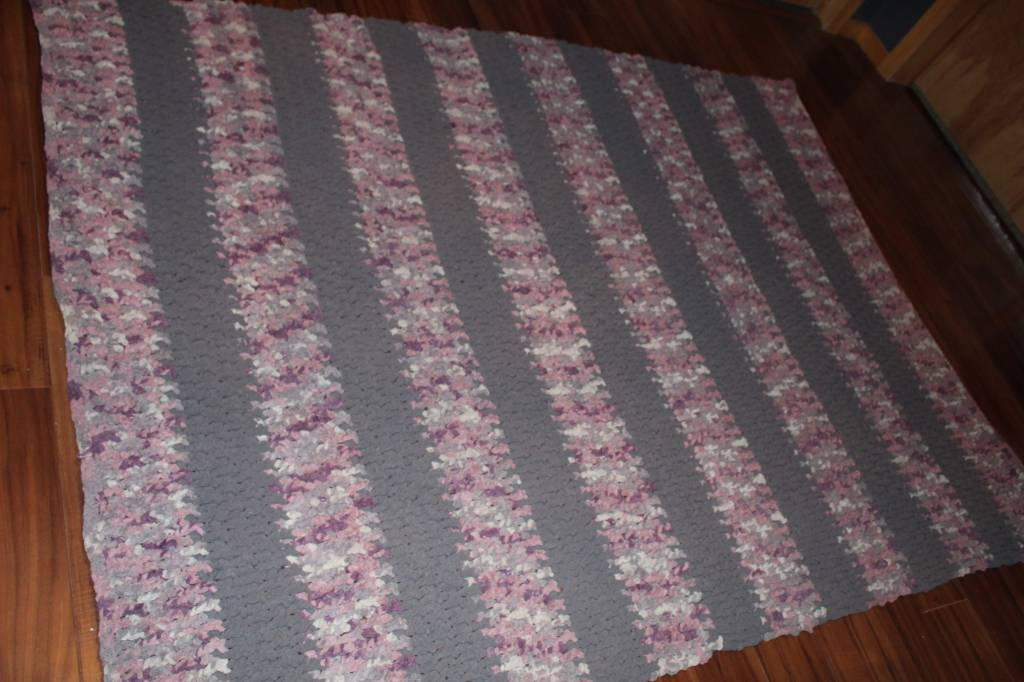 Grey and Purple striped blanket